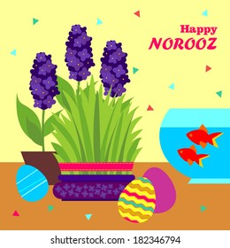 Happy Persian New Year card template. Illustration with fish, grass and eggs.