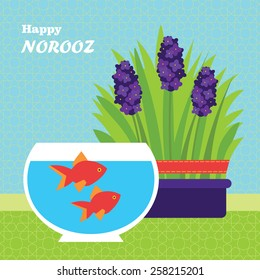 Happy Persian New Year card template. Vector Illustration with fish and grass