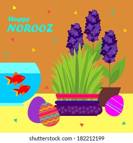 Happy Persian Norooz card. Persian New Year greeting card template with green grass and red fish and other cute holiday attribute.