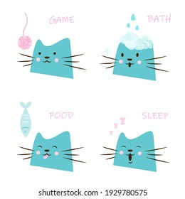 Happy pet needs. Cat playing with a ball of yarn, cat with soap bubbles, cat eating a fish, sleeping cat. Set of vector illustrations isolated on white background.