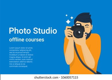 Happy photographer is taking a photo using slr camera. Flat vector illustration of young male character shooting using lens camera. Banner design for photo studio courses and ads