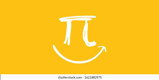 Happy PI day, 14 march, Pythagoras mathematical numbers series ( 3.14 3,14 3/14 ) symbol. Fun vector maths icon or sign banner Ratios letters formula structure. Archimedes constant irrational number