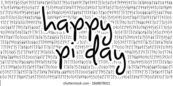 Happy PI day, 14 march, Pythagoras mathematical numbers series ( 3.14 3,14 ) symbol. Fun vector. Ratios letters formula structure.