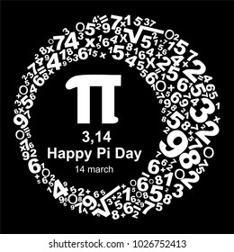 Happy Pi Day! Celebrate Pi Day. Mathematical constant. March 14th. Ratio of a circle's circumference to its diameter. Constant number Pi. Vector illustration