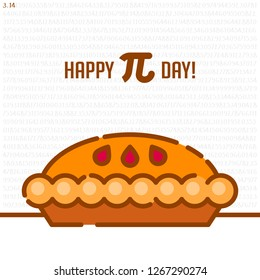 Happy Pi Day! Celebrate Pi Day. Mathematical constant. March 14th (3/14). Ratio of a circle's circumference to its diameter. Constant number Pi and cherry pie