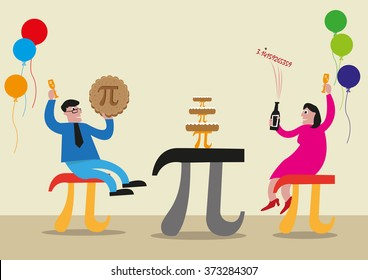 Happy Pi Day concept. People are celebrating with Pi Greek Letter symbol made as chairs, food and tables. Editable Clip Art.