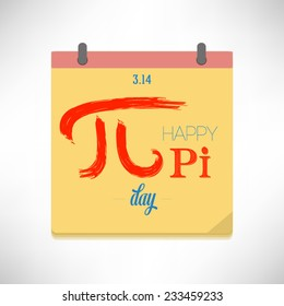 Happy Pi Day flat design vector illustration on calendar page.