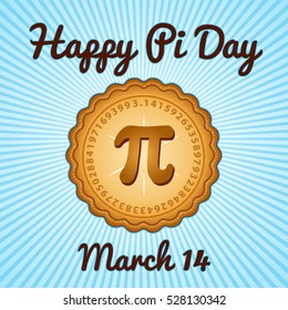 Happy Pi Day, March 14, to celebrate the mathematical constant Pi, 3.14, and to eat lots of fresh baked sweet pie, international holiday, blue rays background. EPS8 compatible.