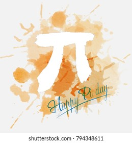 Happy Pi Day. March 14th (3/14). Constant number Pi. Watercolor. Vector illustration.