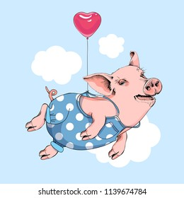 Happy pig in a blue polka dot denim flies with a pink heart balloon on a sky background. Comic card, poster, t-shirt composition, hand drawn style print. Vector illustration.