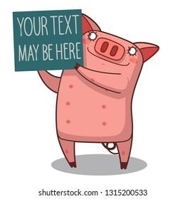 Happy Pig Cartoon Mascot Character Holding A Banner.