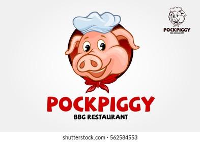 Happy Pig Chef Head Cartoon Vector Illustration  - vector logo illustration