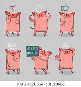 happy pig emoji set
