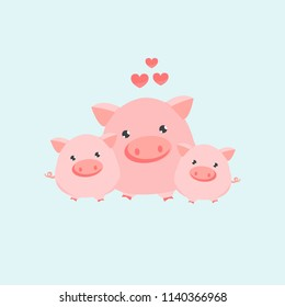 Happy pig family. Vector illustration