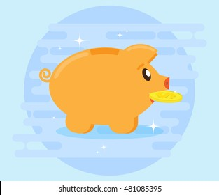 Happy pig piggy bank brings the gold coin. Investments. Creating a cash flow for profit and wealth. The love of money. Flat style