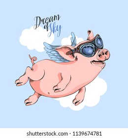 Happy Pig in a pilot's glasses flies on a wings on a sky background. Dream of sky - lettering quote. Comic card, poster, t-shirt composition, hand drawn style print. Vector illustration.