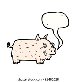 happy pig with speech bubble