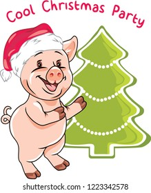 Happy piggy invites to the Christmas party. Vector