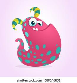 Happy pink cartoon monster blob. Vector illustration. Children book illustration