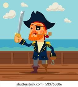 Happy pirate captain man character. Vector flat cartoon illustration