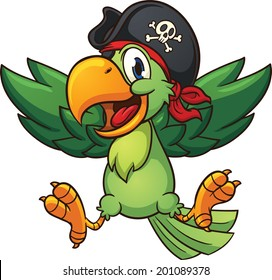 Happy pirate parrot. Vector clip art illustration with simple gradients. All in a single layer.