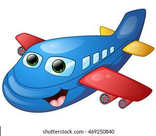 Happy plane cartoon