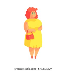 Happy Plus Size Woman In Yellow Suummer Dress With Purse Enjoying Life, Smiling Overweighed Girl Cartoon Characters