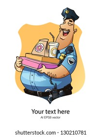 Happy policeman with donuts. Simple and clear banner design. illustration in a police badge frame