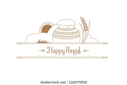 Happy Pongal Background with Outlines