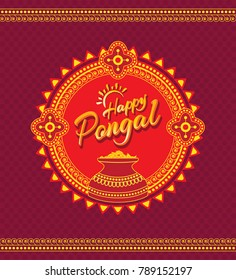 Happy Pongal Background - South India Festival Happy Pongal Design Template