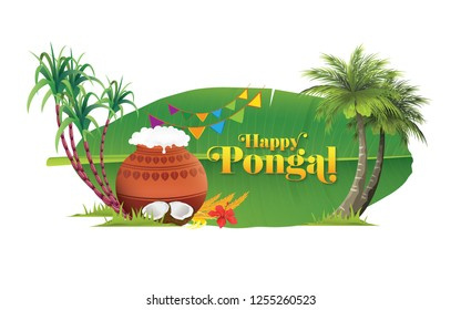 Happy Pongal Background Template Design - Pongal Festival Background Template