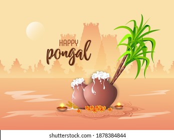 Happy Pongal Celebration Concept. Pongal Celebration. Pongali Rice In Mud Pot, With Oil Lamp.