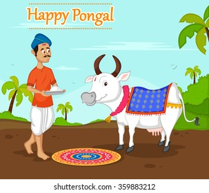 Happy Pongal celebration with farmer offering rice to cow in vector