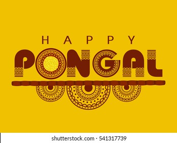 Happy Pongal design for the festival celebrated in south India.