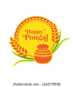 Happy Pongal Design with Round Floral Ornament - Creative Happy Pongal Background Design Vector Illustration