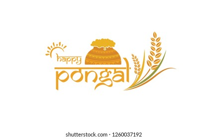 Happy Pongal Design Template Vector Illustration-Happy Pongal Text Typography