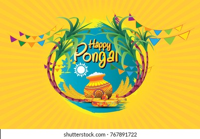 Happy Pongal Festival Background Template Vector Illustration