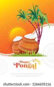 Happy Pongal Festival Poster Design Layout Template