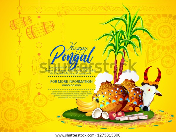 Happy Pongal Festival of Tamil Nadu South India.