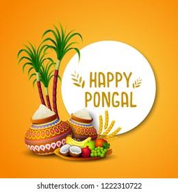 Happy Pongal greeting card on orange background
