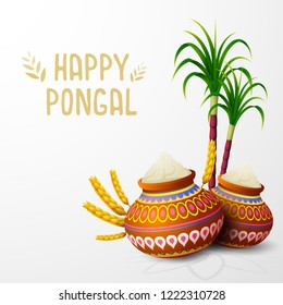 Happy Pongal greeting card on white background
