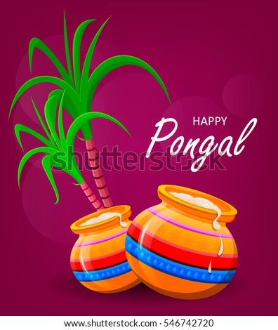 Happy pongal greeting card on violet stock vector royalty free happy pongal greeting card on violet background makar sankranti poster vector illustration m4hsunfo
