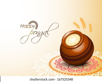 Happy Pongal, harvest festival celebration in South India with pongal rice in a traditional mud pot on beautiful floral design called rangoli.