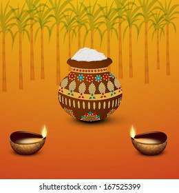 Happy Pongal, harvest festival celebration in South India with pongal rice in a traditional mud pot and oil lit lamps on seamless sugarcane decorated background.