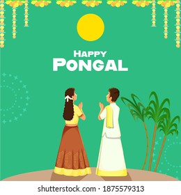 Happy Pongal Poster Design With South Indian Boy And Girl Doing Surya (Sun) God Worship On Green Background.
