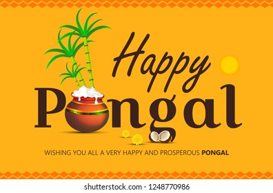 Happy Pongal religious festival of South India celebration background. Vector illustration
