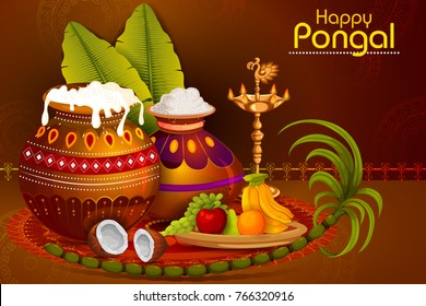Happy Pongal religious holiday background for harvesting festival of India in vector