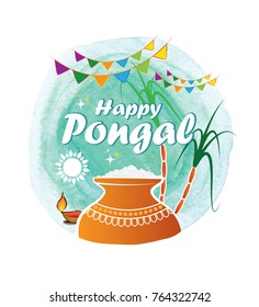 Happy Pongal Template Design on Watercolor Background