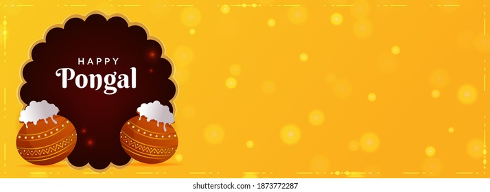 Happy Pongal Text With Traditional Dish In Mud Pots On Brown And Yellow Bokeh Background. Header Or Banner Design.