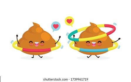 happy poop couple doing exercises with hula hoop, healthy and fitness, Cute cartoon Funny cartoon character sport concept isolated on white background vector illustration